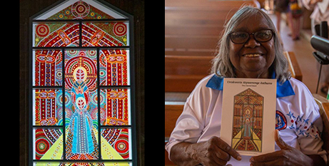 Stained glass window and artist Kathleen Kemarre Wallace (ABC Alice Springs/Samantha Jonscher)