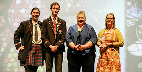 Sue Ellery (third from left) with students and a teacher from Corpus Christi College in Bateman at the 2020 QEC Awards on Friday (CEWA/Matt Biocich)