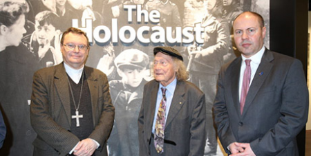 Archbishop Patrick O'Regan, Andrew Steiner and Josh Frydenberg at the new Holocaust Museum in Fennescey House, Adelaide (The Southern Cross)