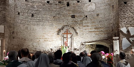Cardinal Claudio Hummes says Mass in the Catacombs of Domitilla yesterday (Crux/Ines San Martin)