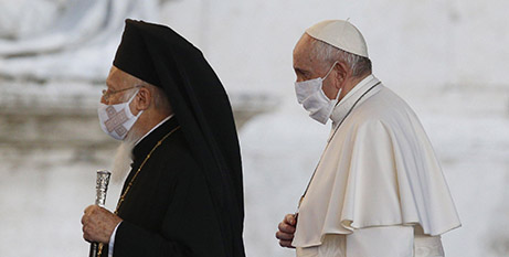 Orthodox Patriarch Bartholomew of Constantinople and Pope Francis at the interfaith prayer service for peace in Rome yesterday (CNS/Paul Haring)