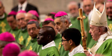 Pope Francis (right) celebrates Mass for World Mission Day yesterday (CNA/Daniel Ibanez)