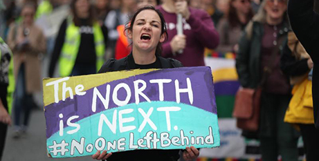 A woman calls for the legalisation of abortion in Northern Ireland at a pro-abortion rally in Dublin last month (CNS/Niall Carson, Reuters)