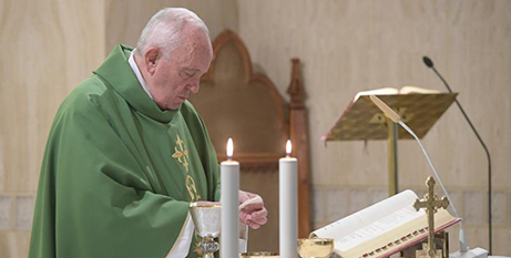 Pope Francis celebrates Mass in the Domus Sanctae Marthae chapel yesterday (CNS/Vatican Media)
