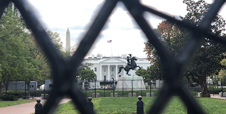 Buildings, including the White House, were being fenced or boarded up in anticipation of violence (CNS/Rhina Guidos)