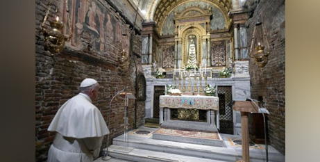 Pope Francis prays at the Sanctuary of the Holy House of Loreto in March (CNS/Vatican Media via Reuters)