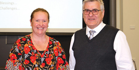 Sarah Moffatt and Fr James McEvoy at the forum (The Southern Cross)