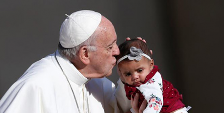 Pope Francis during his general audience in St Peter's Square at the Vatican in 2018 (CNS/Paul Haring)