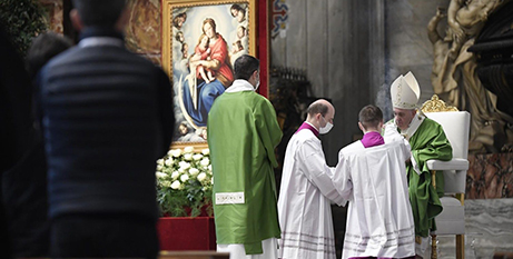 Pope Francis celebrates Mass on the World Day of the Poor yesterday (Vatican Media)