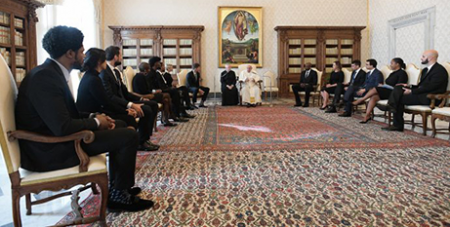 Pope Francis meets the delegation from the National Basketball Players Association during a private audience at the Vatican yesterday (CNS/Vatican Media)