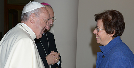 Pope Francis with Francesca Di Giovanni, undersecretary in the Vatican