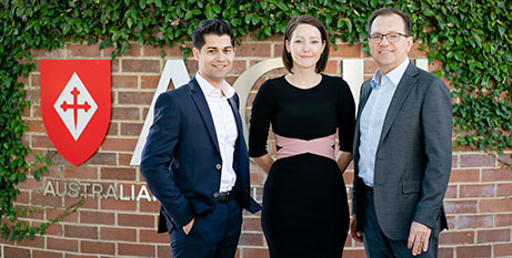 OpenLearning's chief executive Adam Brimo (left) and managing director Cherie Diaz with ACU's Professor Zlatko Skrbis (ACU)