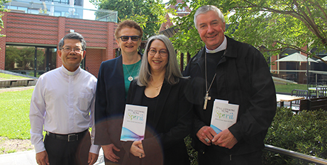 Bishop Vincent Long OFM Conv, Andrea Dean, Sandie Cornish and Archbishop Christopher Prowse at the book launch (ACBC)