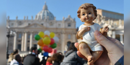 Pope Francis blessed Nativity figurines in St Peter's Square yesterday (Vatican Media)
