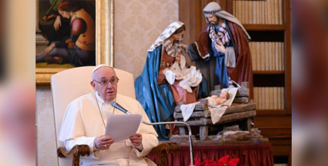 Pope Francis at his general audience address in the library of the Apostolic Palace yesterday (Vatican Media)