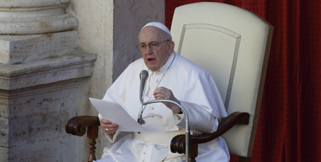 Pope Francis speaking at a recent General Audience in Rome. (CNS photo/Paul Haring)